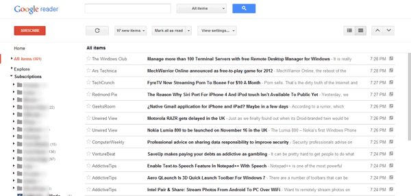 Get Compact Layout in New Google Reader