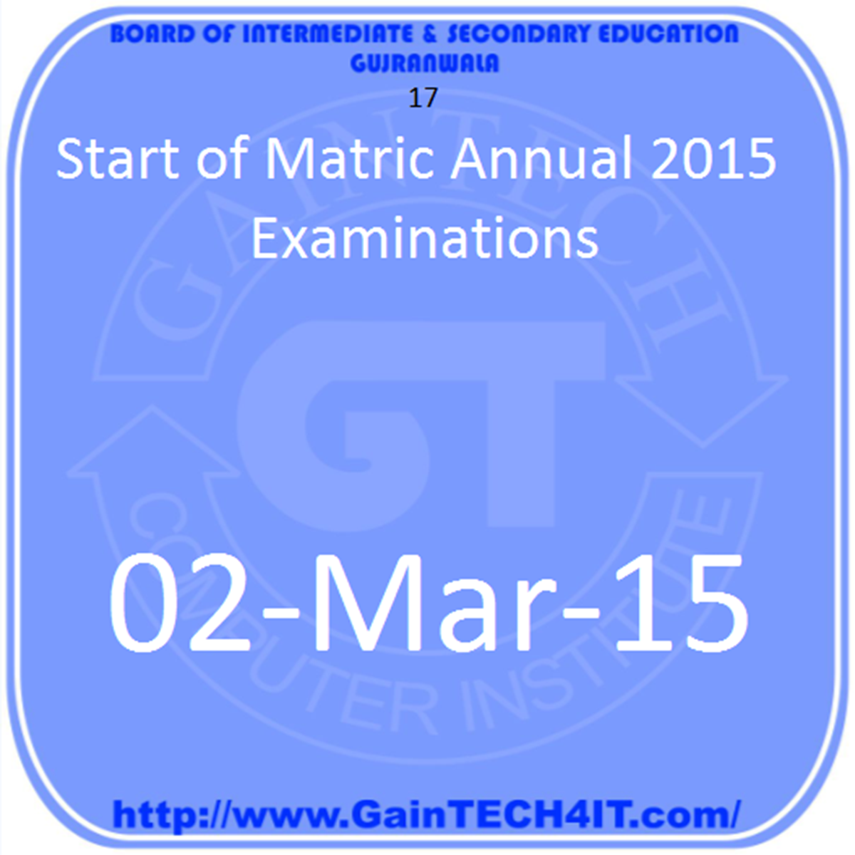 Matric (Annual) Examination, 2015 gujranwala board