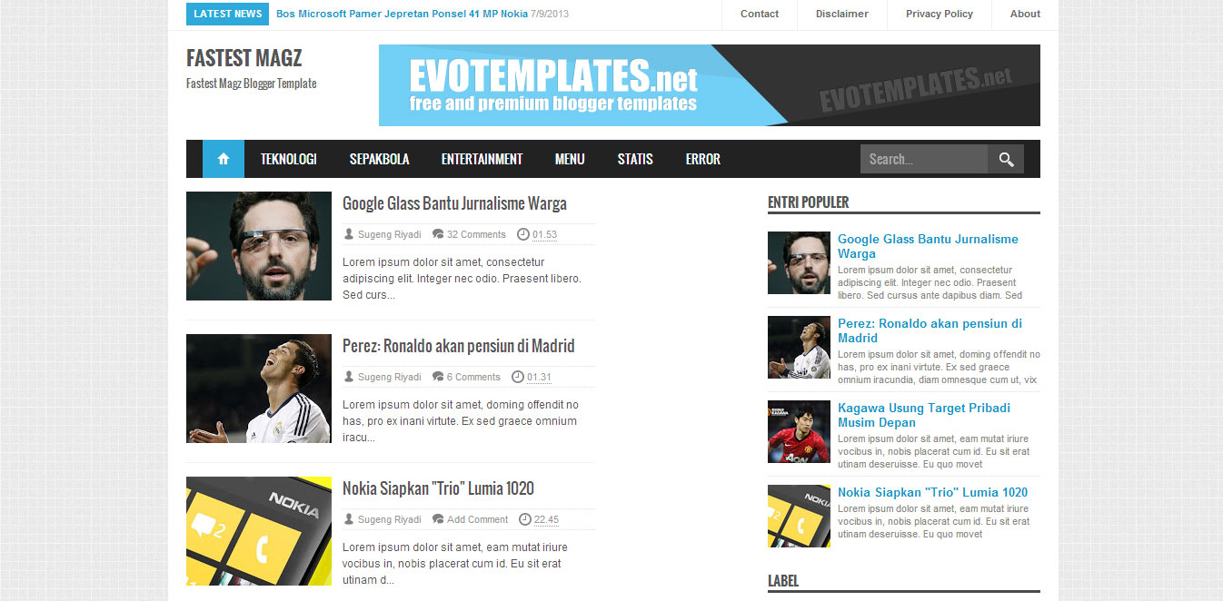 Template Blog Responsive Fastest Magz