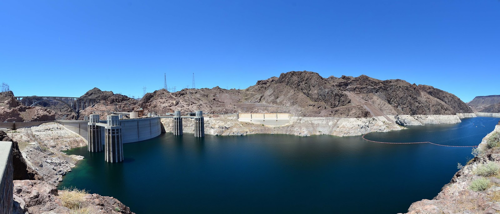 the hoover dam H oover dam is as tall as a 60-story building it was the highest dam in the world  when it was completed in 1935 its base is as thick as two football fields are.