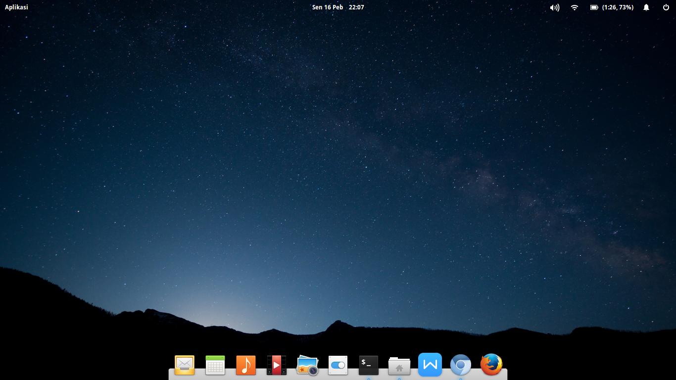 Tampilan Desktop Elementary Freya 0.3 (unstable) di Asus X201E