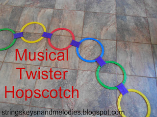 musical twister hopscotch, hopscotch, twister, musical notes, musical note games, beginning music, beginning piano, movement activities, note games, strings keys and melodies