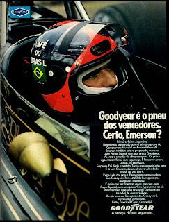 good year.  brazilian advertising cars in the 70. os anos 70. história da década de 70; Brazil in the 70s. propaganda carros anos 70. Oswaldo Hernandez.