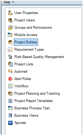 Project Entities in ALM