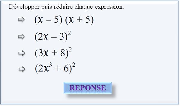 Développer puis réduire chaque expression.