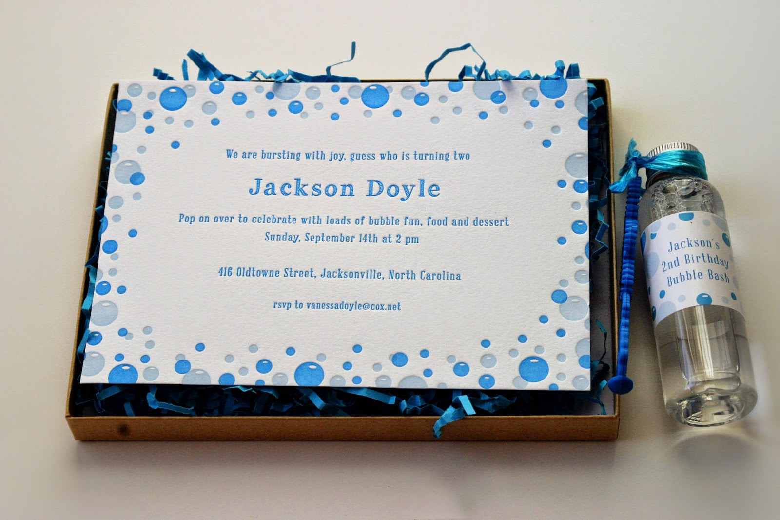 Bubble Party Letterpress Invitations by Sweetly Said Press
