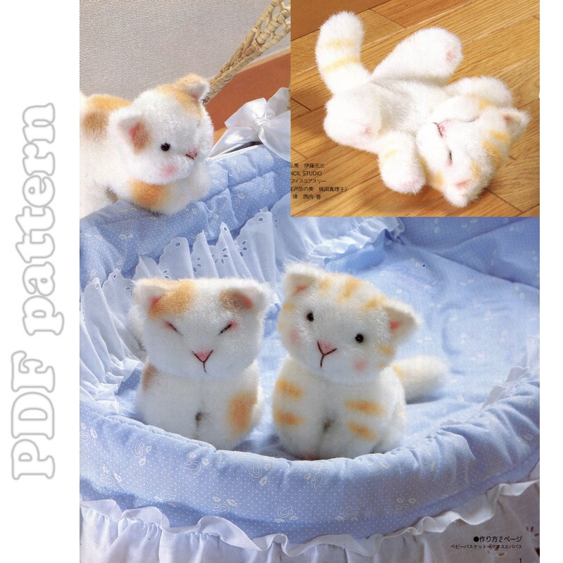 Little Cat Fur Plush and Tutorial Sewing Pattern PDF | CraftyLine e ...