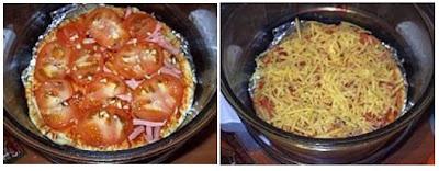 Плотно выложить начинку и посыпать сыром