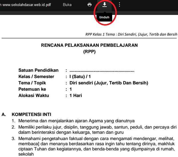 Cara Download RPP, Silabus SD Kurikulum 2013