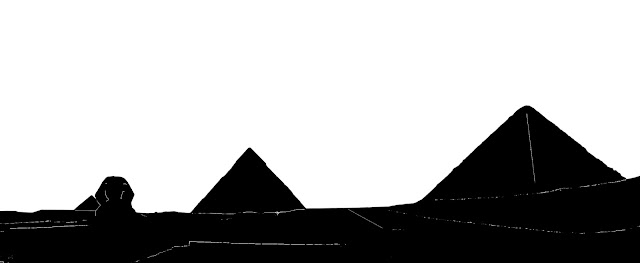 silhouette of the three Giza pyramids