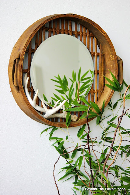 mirror, DIY, basket,upcycled, repurposed, antlers, round mirror, Michaels craft, http://bec4-beyondthepicketfence.blogspot.com/2015/10/round-basket-mirror.html