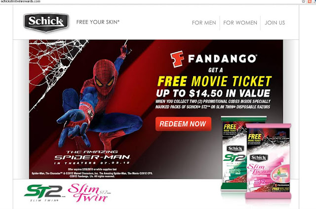 Screen shot of Spiderman movie Schick Promomotion