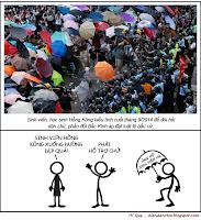 Hí Quẹ: Mang dù hỗ trợ sinh viên Hồng Kông