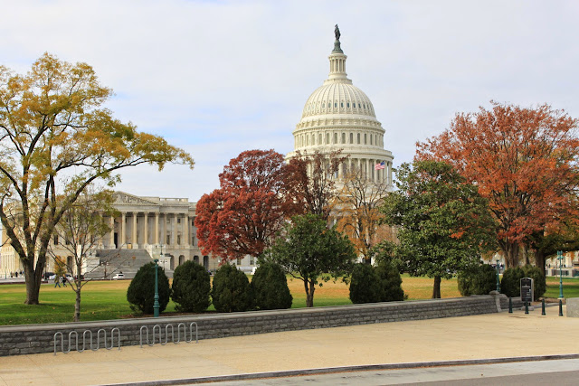 Far away view of the United States Capitol during Autumn in Washington DC, USA