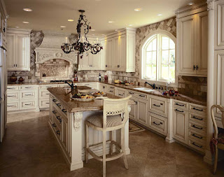 Rustic White Cabinets With Light Brown Granite, Dark Brown Hardware
