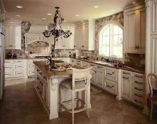 Rustic White Cabinets With Light Brown Granite, Dark Brown Hardware