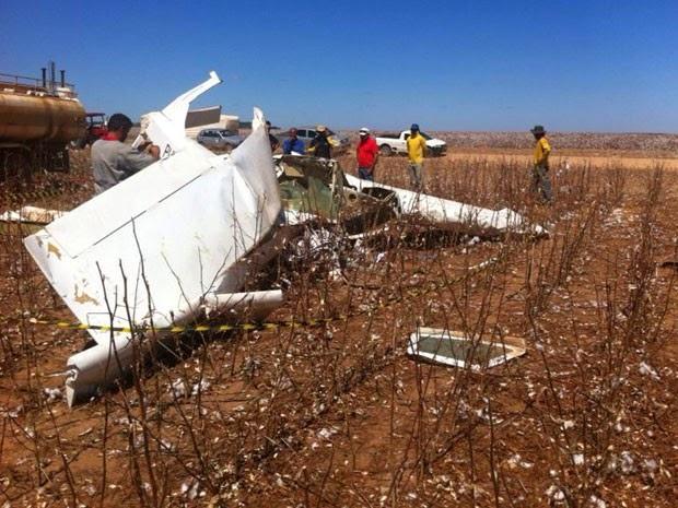 Local onde caiu o avião com Rui Rezende, no oeste da Bahia (Foto: Sigi Vilares / Blog Sigi Vilares)