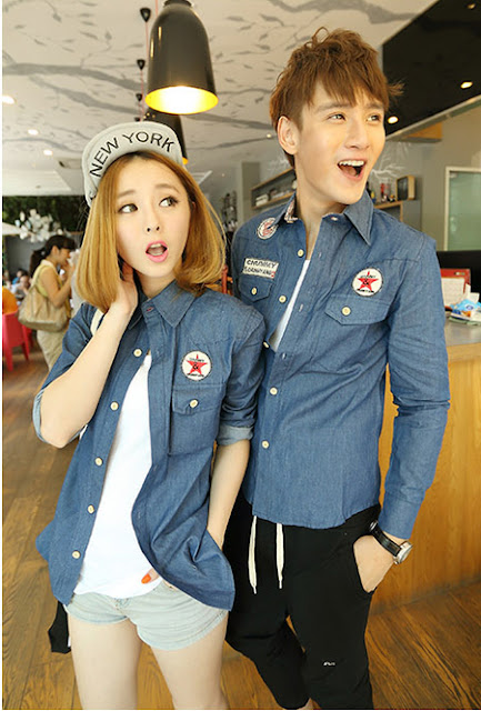 Model Baju Denim Converse Couple Lengan Panjang Gulung