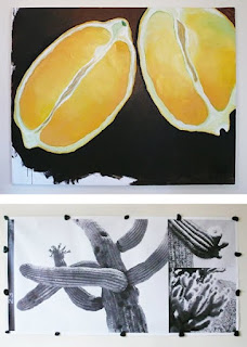 Lemon Painting by J. Shields.  Tucson Cactus Photo Compostion by B. Kozlen.