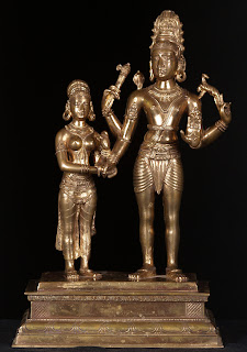 Shiva taking Parvati's hand in marriage;  South Indian bronze