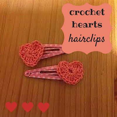 crochet hearts hair clips, DIY, how to, Valentine's Day