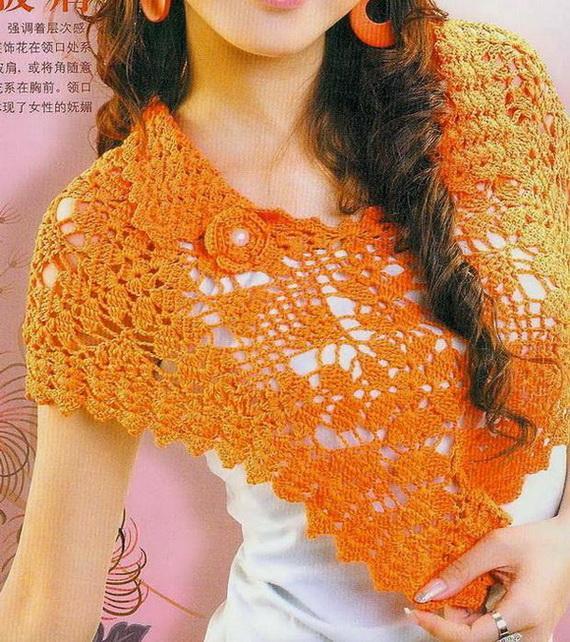 оранжевый пончо Вязание крючком для молодых женщин