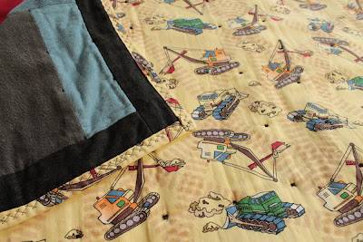 construction equipment baby quilt with denim