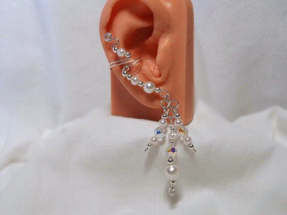 Pearls, Crystals and Silver Chandelier Ear Cuffs from ElegantEarCuffs
