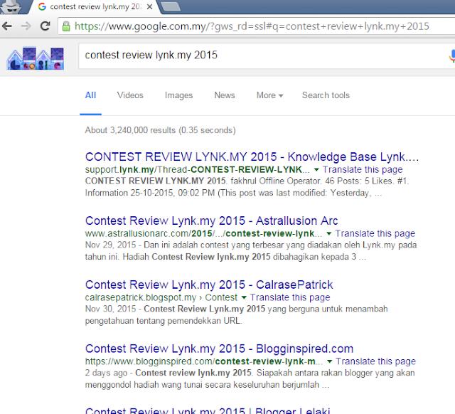 kedudukan contest review lynk.my 2015