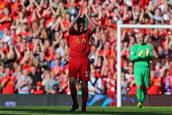 Jamie Carragher applauded the fans on in his last game for Liverpool last season