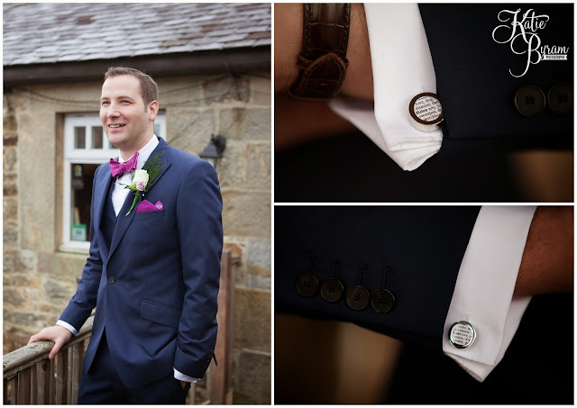personalised cufflinks groom, high house farm brewery, northumberland wedding, farm wedding, quirky wedding, alternative wedding photography, high house farm, brewery wedding, matfen brewery, matfen wedding, yap bridal boutique, wildflowers, katie byram photography, floral wedding, vintage wedding