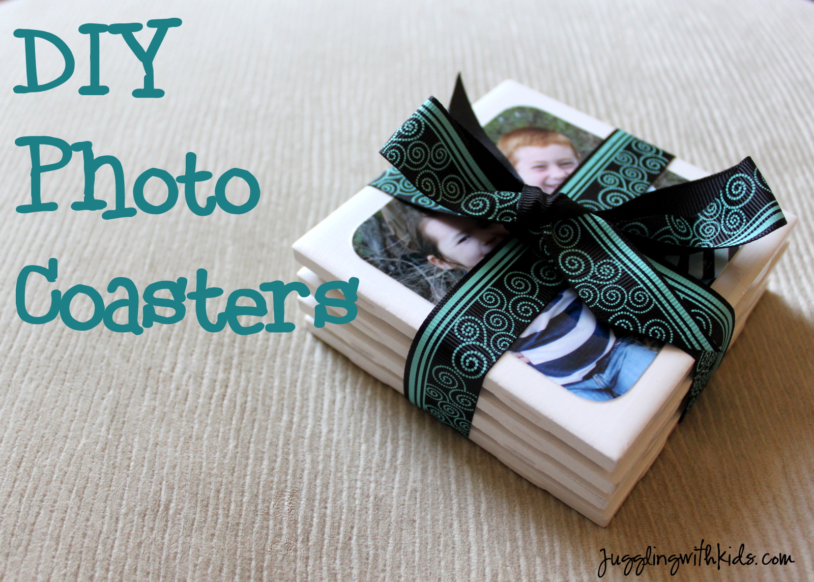 DIY Photo Coasters for Father\'s Day – Juggling With Kids