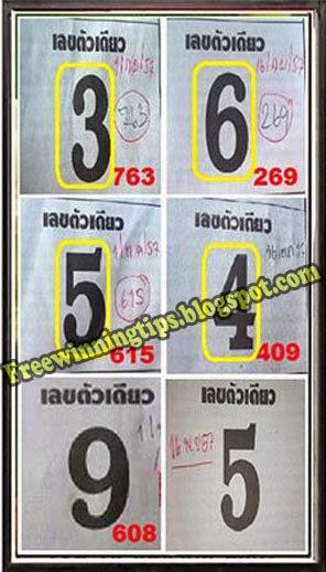 Thai Lottery 3up Single Sure Digit 16-11-2014
