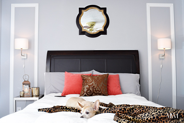 A beautiful, fun and chic guest room makeover inspired by boutique hotels. The entire makeover was completed in one weekend. (via monicawantsit.com)