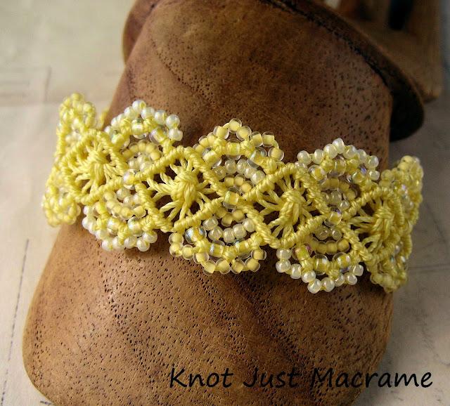 Beaded micro-macrame bracelet knotted by Sherri Stokey