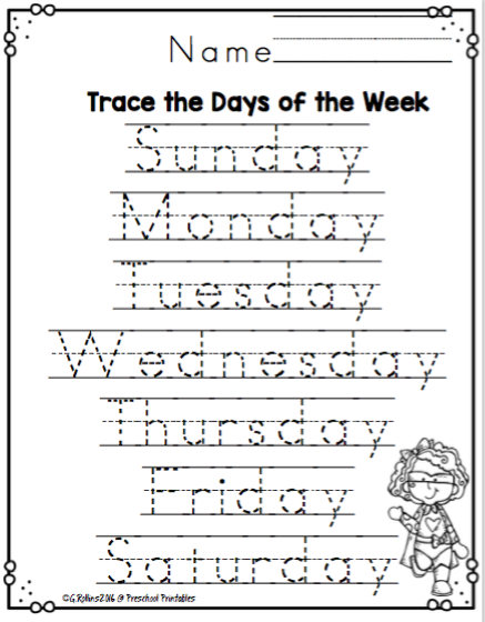 Free days of the week worksheets for kindergarten