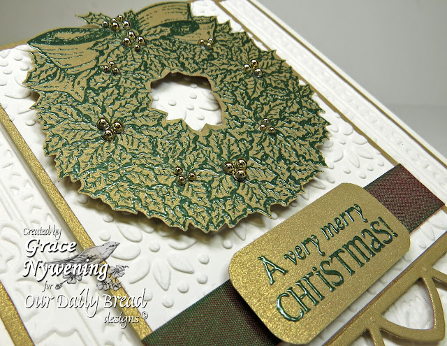 ODBD stamps, Jingle Bells, Holly Wreath, ODBD Custom Cathedral Window and Border Die, Grace Nywening designer