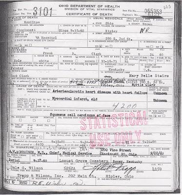 Frank Bernard Clark - Death Certificate