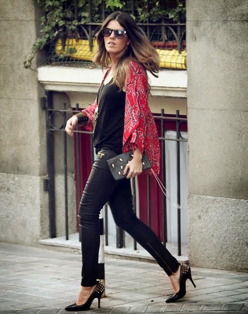 Wearing a Red Printed Kimono Cardigan