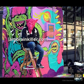 Brain Killer with his graffiti art at Soho House Chicago