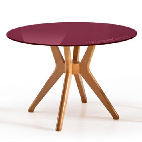 Mesa cocina redonda 100 cristal tu cocina y ba o - Mesas redondas cristal ...