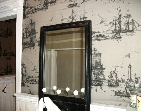 Ikea fabric as wallpaper in bathroom