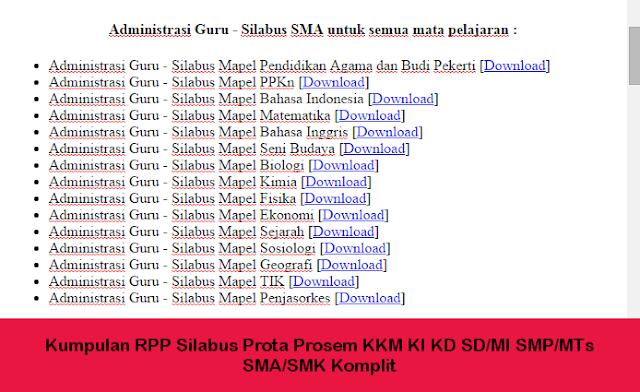 Kumpulan RPP Silabus Prota Prosem KKM KI KD SD/MI SMP/MTs SMA/SMK Komplit