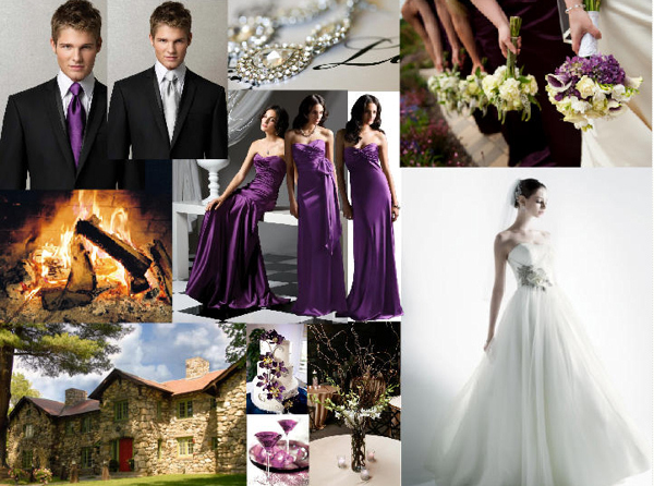 The wedding lookbook inspiration board by thematic colours for Purple and grey wedding dresses