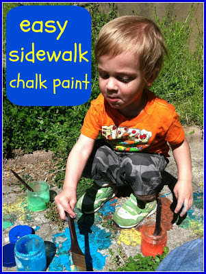 DIY chalk paint, DIY paints for kids, washable chalk paint, sidewalk paint, summer activities for kids