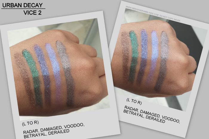 Urban Decay Vice2 Eyeshadow Palette Radar Damaged Voodoo Betrayal Derailed Indian makeup beauty blog swatches