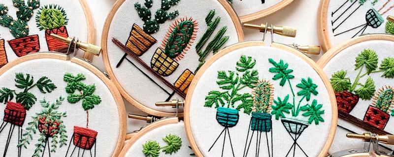 Plantas bordadas