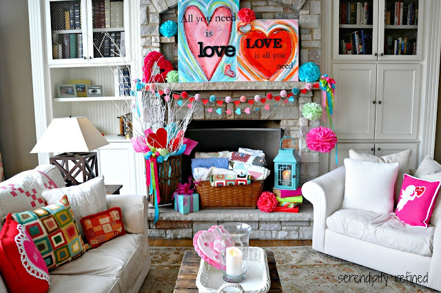 Serendipity refined blog valentines day mantel easy for Room decor ideas valentines