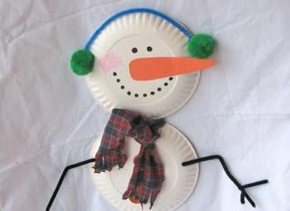 Snowman Craft with Paper Plates
