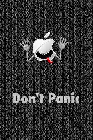 Don't PAnic Apple Logo funny iphone wallpaper  5s 5c 6